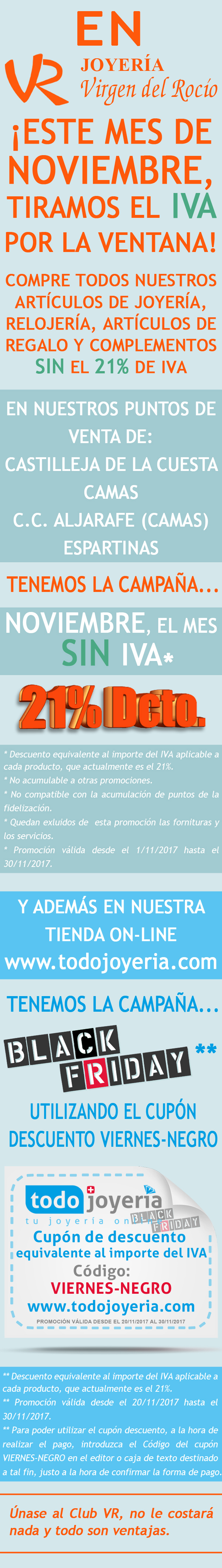 Noviembre 2017 mes sin iva y black friday joyer a virgen for Dia sin iva conforama 2017